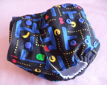SassyCloth one size pocket diaper with Pacman game cotton print. Made to order.