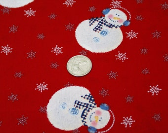 "1/2 Yard x 42"" Wide Snowmen Holiday Cotton Fabric"