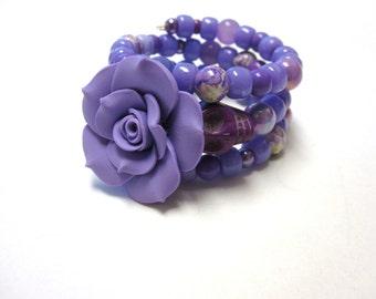 Sugar Skull Bracelet Day Of The Dead Wrap Purple Rose Wedding Jewelry Accessory