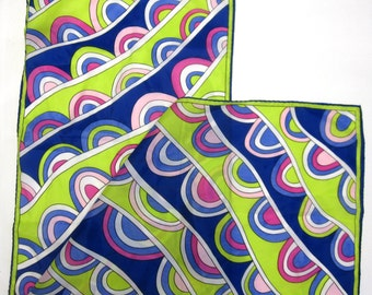 Green Blue Fuchsia Purple Scarf Hair Wrap Head Accessory Long Sash