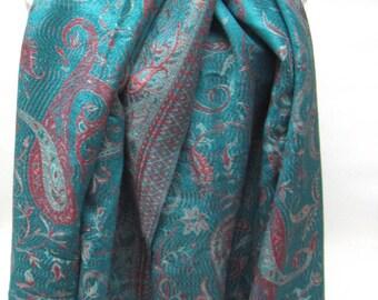 Large Scarf Teal Blue Green Purple Shawl Throw Wrap