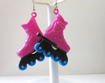 Roller Skate Earrings Hot Pink Blue Roller Derby Accessory