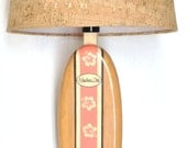 Surfboard Table Lamp or Accent Lamp With Hibiscus Flowers