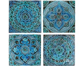 Ceramic tiles // Decorative tiles // Wall tiles // Bathroom tiles // Hand painted tiles // Tile art // Mandala set of 4 tiles // Turquoise
