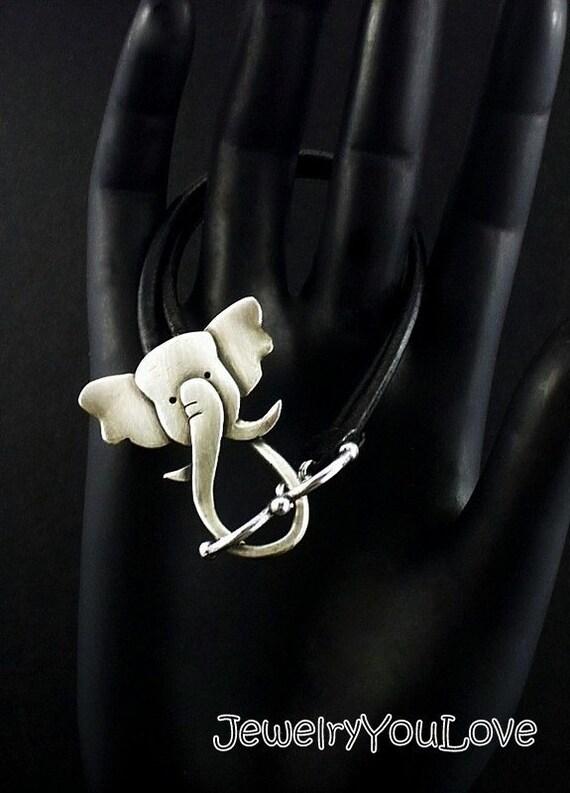 Sterling Silver/Leather Elephant Bracelet - Ellie
