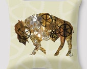 Steampunk Pillow by Alison Kurek Gears Rust Belt Buffalo hand sewn pillow invisible zipper