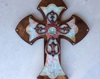 Large Turquoise Wood Wall Cross