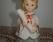 Vintage LEFTON Graduation Figurine / Student / Diploma / Cap / Gown / Very Sweet