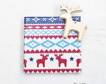 Scandi Reindeer Christmas Coasters Red Blue White Ceramic Tile Coasters Christmas Holiday Gift