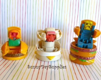 McDonalds Happy Meal Toys, Changeables, Robots, 1980's, Cheeseburger, Egg Mcmuffin, Big Mac, Vintage Toys, 1980's, 3 in Lot,  Food Toys