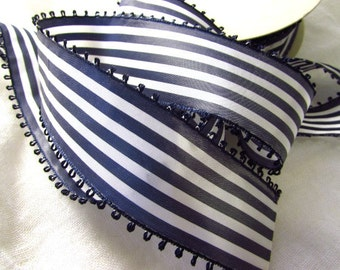 Navy Blue and White Striped Ribbon, Vintage Picot Ribbon, White and Dark Blue Taffeta Ribbon, Wide Ribbon, Picot Edge, Vintage Millinery