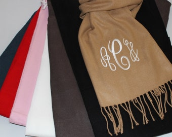 SALE - Monogrammed Scarf - Monogram Gift - Cashmere Feel Scarf