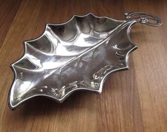 Silverplated Holly Leaf Tray--Decorative Holly Leaf--Christmas Tray