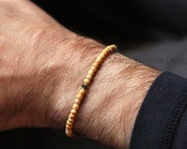 emerald yew mens bracelet - mens emerald and wood small bead bracelet from Maria-Helena Design