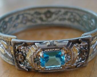Signed 1920's Art Deco filigree bangle bracelet front buckle turquoise glass stone