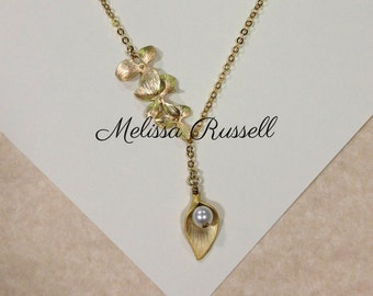 Gold Cascading Orchids with Pearl in Lily Lariat Necklace, handmade jewelry