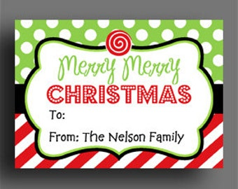 Candy cane tags etsy personalized christmas gift tags or labels printable or printed party favor tags goodie negle Image collections