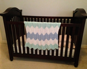 Mint Green, White and Blue Chevron Hand Knit Baby/Toddler/Lap Blanket