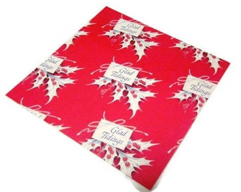 Vintage Wrapping Paper - Glad Tidings - Full Sheet Christmas Gift Wrap
