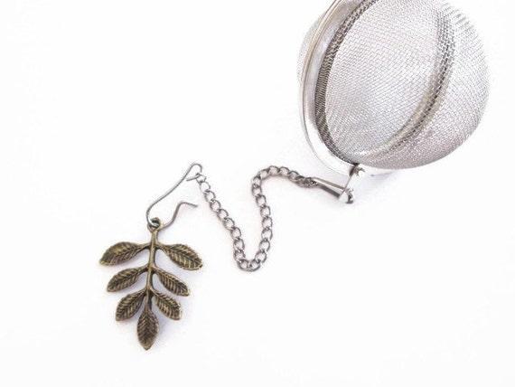"Tea Infuser Bottle Cap Charm - Olive Branch  - 2"" Mesh Tea Ball Tea Infuser"