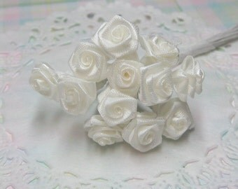 B grade Ivory miniature satin roses on wire stems 8-10mm 1 dozen for crafting and scrapbooking discounted seconds