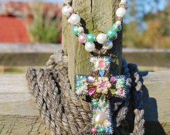 SET - Western Rodeo Cowgirl Handmade Artisan Christian Necklace with Matching Earrings