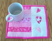 Mug Rug Candle Mat Valentine Coaster Quilted Pink White