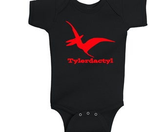 Personalized Pterodactyl Dinosaur infant Shirt - any name - pick your colors!