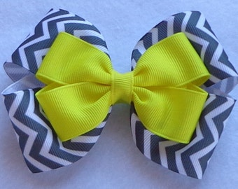 Boutique Hair Bow, Grey/Yellow Chevron Hair Bow, Grey/Yellow Hair Bow, Boutique Hair Bow, Basic Boutique Bow, Simple Hair Bow, Boutique Bow