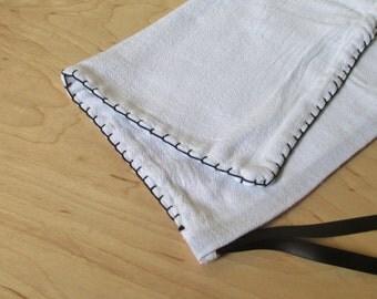 1 Medium Reusable Cloth Produce Bag, Bread Bag, Black Hand Embroidery, Black Ribbon