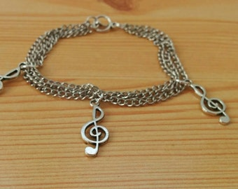 Music bracelet, treble bracelet, music cuff, music jewelry, treble chain cuff, chain bracelet, musical bracelet, musical cuff, treble cuff