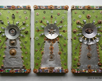 Recycled Art - The 3 Medusas (Triptych) - Rusty Metal Art - Mixed Media - Found Object Art by Jen Hardwick