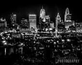 Cincinnati Skyline in Monochrome - Fine Art Photo Print, Wall Decor, 8x10 Photograph, City of Cincinnati Print, Cincinnati Photo, Landscape