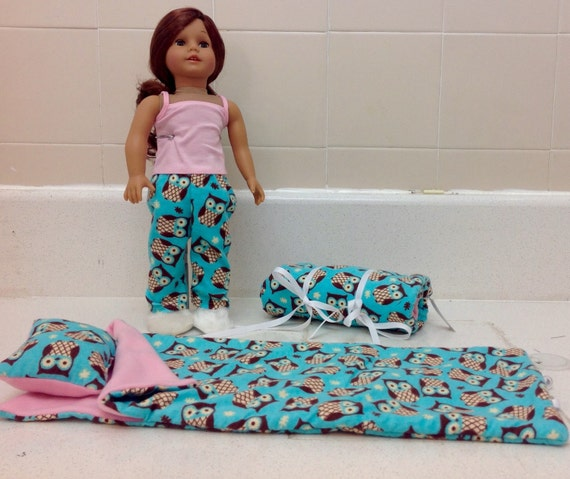 Sleeping Bag, Pillow and Two Piece Pajamas American Made 18 Inch Doll Clothes