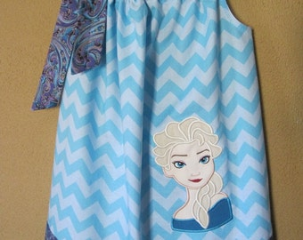 Frozen Elsa Dress, Pillowcase Dress, Turquoise Chevron and Purple Paisley, Snow Queen, Ice Princess, Disney Movie Inspired, Size 6 mos to 14
