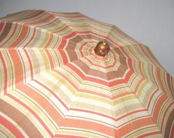 Vintage 30s Striped Parasol Copper Cream  Rust Striped Umbrella 1930s Silk Parasol Vintage Parasol Cloth Umbrella Silk Umbrella Sun Umbrella