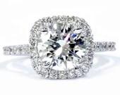 2.50CT Diamond Cushion Halo Engagement Ring 14K White Gold Clarity Enhanced