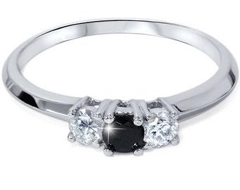 1/2CT Black & White Diamond 3 Stone Engagement Ring 14K White Gold