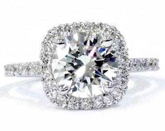 Cushion Halo 2.50CT Diamond Engagement Halo Ring 14K White Gold Clarity Enhanced