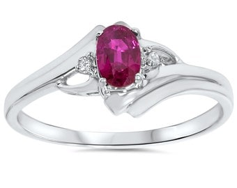 Oval Ruby & Diamond Ring Round Brilliant Cut .95 Carat Solid 14K White Gold