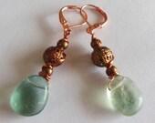 Sea Foam on Copper dangle earrings  E489