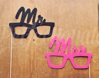 Felt Mr and Mrs Glasses | Mr Prop Glasses | Pink Mrs Glasses