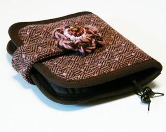 50 % off SALE - Wool wallet Mini Clutch purse pouch Brown Mouve purse