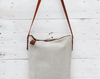 Leather bag, Suede leather crossbody bag, Women ivory Clutch, casual pouch, Beige suede leather pack, gift for women, present for wife