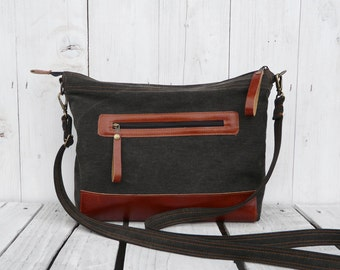 "Leather Messenger Bag, Zipper Diaper Bag, Middle Crossbody Bag, Black and Rust two tone bag, Macbook Carrier, Unisex Laptop bag, 11"" Macbook"