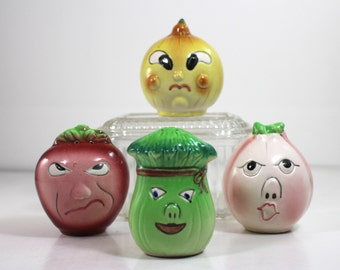 Anthropomorphic Lipper and Mann Vegetable Shakers  set of 4