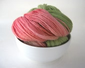 SALE: Local NY Hand Dyed Yarn WATERMELON Blue Faced Leicester Sock/Fingering Weight Green, Red and Pink