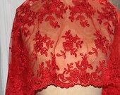 Red Lace Fabric  - embroidered flower design and scalloped edges. - Special Occasion - valentine day fabric