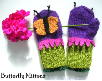 Butterfly Mittens, Knitting Pattern, Children's Mitten Pattern with Bonus Instructions for Bee and Ladybug