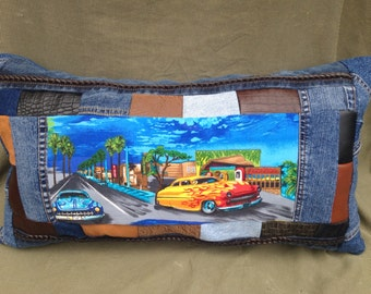 Classic cars - Retro -Repurposed - 50's Style - Large Oblong OOAK Denim Pillow